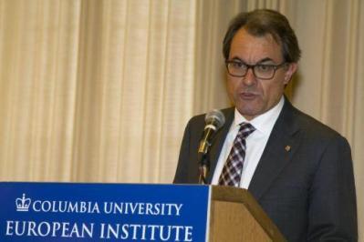 El presidente de la Generalitat de Catalunya, Artur Mas, durante la conferencia ofrecida en la Universidad de Columbia, en Nueva York, titulada