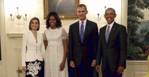 los reyes junto al presidente de eeuu y la primera dama en la Casa Blanca