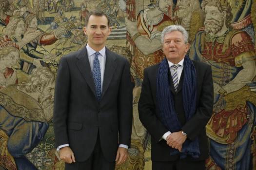 Audiencia a Don Pedro Quevedo Iturbe, de Nueva Canarias (NCa).Fue recibido por Su Majestad el Rey en el marco de las consultas con los representantes designados por los grupos políticos con representación parlamentaria. — en Palacio De La Zarzuela.