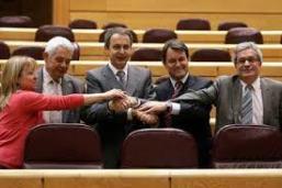 JOSE LUIS RODRIGUEZ ZAPATERO, ARTUR MAS, MARAGALL Y DIPUTADOS EN EL PARLAMENTO CATALÁN