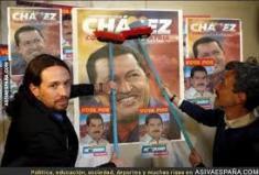 PABLO IGLESIAS EN VENEZUELA EN PEGATINAS DE CHAVEZ