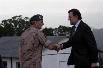 El presidente del Gobierno, Mariano Rajoy, en Figueirido, Pontevedra, donde, a través de una videoconferencia, felicita las fiestas navideñas a las tropas españolas destacadas en el exterior.http://www.icndiario.com/2012/12/25/espana-rajoy-saluda-a-tropas-espanolas-en-el-exterior/