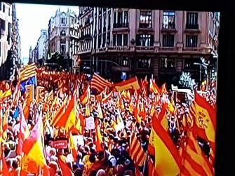 """PLAZA COLON BARCELONA!!.- Los asistentes hicieron un recorrido que duró dos horas por la Via Laietana hasta la avenida Marqués de Argentera, donde se leyó un manifiesto y hablaron los impulsores. http://www.lavanguardia.com/politica/20171008/431878075247/societat-civil-catalana-manifestacion-barcelona-espana.html La imagen pertenece a Jade Verde - """"Grupo yo voto al PP"""", subida en los mismos y emocionantes momentos de esta gran movilización civica en favor de la DEMOCRACIA Y UNIDAD DE NUESTRA ESPAÑA!.- FUERZA CATALUÑA FUERZA A TODA NUESTRA ESPAÑA!.-"""