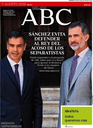 "Tapa del Periodico español ""ABC"", 7 de Agosto de 2018"